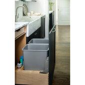 Rev-A-Shelf Double Soft Close w/Tandem Heavy Duty Slides Waste Containers, 30 qt., 20-15/16''W x 21-13/16''D x 19-9/16''H