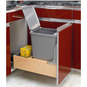 Rev-A-Shelf Bottom Mount Single 35 Quart (8.75 Gallon) Waste Bin with Rev-A-Motion Slides, Min. Cabinet Opening: 11-3/8''  Wide
