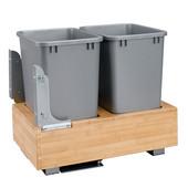 Rev-A-Shelf Double 35 Quart (8.75 Gallon) Waste Bins w/Rev-A-Motion Slides, Min. Cabinet Opening: 14-3/8''  Wide