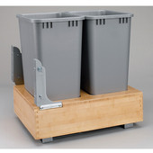 Rev-A-Shelf Double 50 Quart (12.5 Gallon) Waste Bins w/Rev-A-Motion Slides, Min. Cabinet Opening: 17-3/8''  Wide