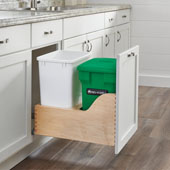 Rev-A-Shelf Double Soft-Close Bottom Mount Recycle Center With (1) Green Compo+ Container and (1) 35 Qt. White Bin, Wood Bottom Mount with Blum Slides