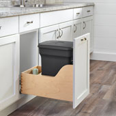 Rev-A-Shelf Single Black Compo+ Bin Pull-Out with Rear Storage, Wood Bottom Mount with Blum Soft-Close Slides