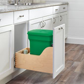 Rev-A-Shelf Single Green Compo+ Bin Pull-Out with Rear Storage, Wood Bottom Mount with Blum Soft-Close Slides