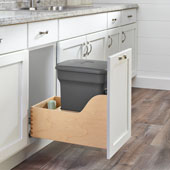 Rev-A-Shelf Single Orion Gray Compo+ Bin Pull-Out with Rear Storage, Wood Bottom Mount with Blum Soft-Close Slides