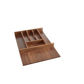 Rev-A-Shelf Trimmable Walnut Cutlery Tray Insert For Frameless Cabinets - 15-1/8''W x 22''D, Satin Finish
