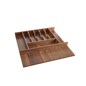 Rev-A-Shelf Trimmable Walnut Cutlery Tray Insert For Frameless Cabinets - 22-1/8''W x 22''D, Satin Finish