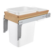 Rev-A-Shelf 35 Quart (8.75 Gallon) Single Bin Top Mount Pull-Out White Waste Bin for 1-5/8'' Frame Cabinet, Min. Cabinet Opening: 11-3/4'' Wide