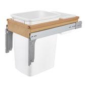 Rev-A-Shelf 35 Quart (8.75 Gallon) Single Bin Top Mount Pull-Out White Waste Bin for 1-5/8'' Frame Cabinet, Min. Cabinet Opening: 11-3/4'' Wide