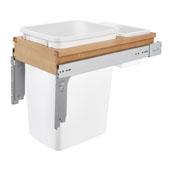 Rev-A-Shelf 35 Quart (8.75 Gallon) Single Bin Top Mount Pull-Out White Waste Bin for 1-3/4'' Frame Cabinet, Min. Cabinet Opening: 11-1/2'' Wide