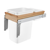 Rev-A-Shelf 35 Quart (8.75 Gallon) Single Bin Top Mount Pull-Out White Waste Bin for 1-1/2'' Frame Cabinet, Min. Cabinet Opening: 12'' Wide