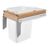 Rev-A-Shelf Top Mount Pull-Out Single Waste Bin with Rear Storage Basket for Frameless Cabinet, 35 Quart, Min. Cabinet Opening: 13-1/2''  Wide