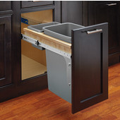 Rev-A-Shelf Single Bin Wood Top Mount Waste Container for Inset Doors, with Small Supply Bin, Min. Cabinet Opening: 12''  Wide