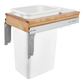 Rev-A-Shelf Top Mount Pull-Out Single Waste Bin with Rear Storage Basket for Frameless Cabinet, 50 Quart, Min. Cabinet Opening: 13-1/2''  Wide