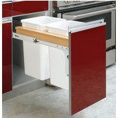 Rev-A-Shelf Double Pull-Out Waste Bins for Frameless Cabinet, Min. Cabinet Opening: 13-1/2''  Wide
