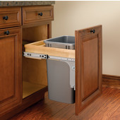 Rev-A-Shelf 35 Quart (8.75 Gallon) Single Bin Top Mount Pull-Out Silver Waste Bin for 1-1/2'' Frame Cabinet, Min. Cabinet Opening: 15'' Wide