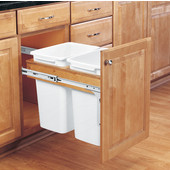 Rev-A-Shelf Double Pull-Out Waste Bins for Framed Cabinet, 2 x 35 Quart, For 1-1/2'' Face Frame, Min. Cabinet Opening: 15''  Wide