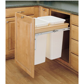 Rev-A-Shelf Double Pull-Out Waste Bins for Framed Cabinet, 2 x 50 Quart, For 1-1/2'' Face Frame, Min. Cabinet Opening: 18''  Wide