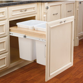 Rev-A-Shelf Double Pull-Out Waste Bins for Framed Cabinet, 2 x 35 Quart, For 1-1/2'' Face Frame, Min. Cabinet Opening: 18''  Wide