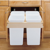Rev-A-Shelf Pull-Out Top Mount Waste & Recycling Bins For Framed or Frameless Cabinets, 4 x 27 Quart (4 x 6.75 Gallon), Min. Cabinet Opening: 24''  Wide