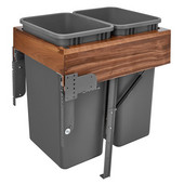 Rev-A-Shelf Double 50 Quart (12.5 Gallon) Waste Bin Pullout, Orion Gray Cans, Walnut Wood Top-Mount with Rev-A-Motion Slides