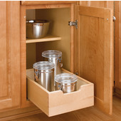 Rev-A-Shelf 12'' Kitchen Base Cabinet Wood Pull-Out Drawer on ¾ Euro Extension Sllides, Min Cab Opening: 11-1/8'' W x 18-3/4'' D x 5-3/4'' H