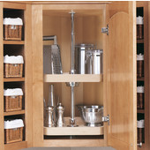 Rev-A-Shelf ''Wood Classic'' 20'' Diameter Independently Rotating 3-Shelf D-Shaped Lazy Susan (Image shows 2-Shelf Susan)