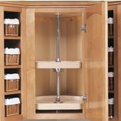 Rev-A-Shelf ''Wood Classic'' 22'' Diameter Independently Rotating 2-Shelf D-Shaped Lazy Susan