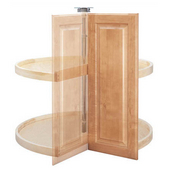 Rev-A-Shelf ''Wood Classic'' Door-Mount Pie-Cut 2-Shelf Lazy Susan, Available in Different Sizes