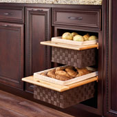 Rev-A-Shelf Woven Basket with Rails, Woven Brown with Maple Frame, 18'', Min Cab Opening: 17-1/2'' W x 21-1/4'' D x 7-3/8'' H