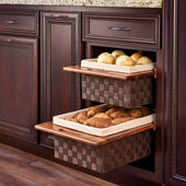Rev-A-Shelf Woven Basket with Rails, Woven Brown with Walnut Frame, 15'', Min Cab Opening: 14-1/2'' W x 21-1/4'' D x 7-3/8'' H