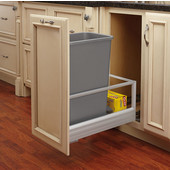 Rev-A-Shelf Single Bin Door Mount Rev-A-Motion Waste Container in Silver, Min. Cabinet Opening: 11-1/2''  Wide
