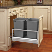 Rev-A-Shelf Double Bin Door Mount Rev-A-Motion Waste Container in Stainless Steel, Min. Cabinet Opening: 15''  Wide