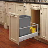 Rev-A-Shelf Single Bin Door Mount Rev-A-Motion Waste Container, Stainless Steel, Min. Cabinet Opening: 11-1/2''  Wide