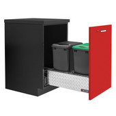 Rev-A-Shelf Double Monster Chassis with Rev-A-Motion Soft Close Assist for 35 or 50 Quart Waste Containers (Not Included), Aluminum Diamond Plate, 16-3/4''W x 22-11/16''D x 8''H