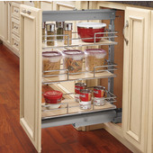 Rev-A-Shelf Pullout Pantry with 3 Baskets & Door Mount Brackets, Maple/Chrome, 8-3/4'' W, Min Cab Opening: 8-3/4''W x 19-5/8''D x 26-3/4''H