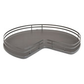 Rev-A-Shelf Kidney Shape Single Shelf Lazy Susan for 32'' Kidney Corner Base Cabinet, Orion Gray, with Aluminum Bearing