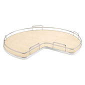 Rev-A-Shelf Kidney Shape Single Shelf Lazy Susan for 32'' Kidney Corner Base Cabinet, Maple, with Aluminum Bearing