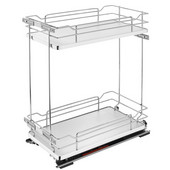 Rev-A-Shelf Two-Tiered Chrome Wire Base Organizer, for 15'' Face Frame Base Cabinet, Gray, with Blum's TANDEM Heavy Duty BLUMOTION Soft Close Slides, 11-3/4''W x 21-11/16''D x 24''H
