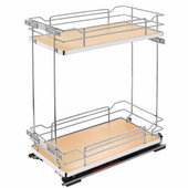 Rev-A-Shelf Two-Tiered Chrome Wire Base Organizer, for 15'' Face Frame Base Cabinet, Maple, with Blum's TANDEM Heavy Duty BLUMOTION Soft Close Slides, 11-3/4''W x 21-11/16''D x 24''H