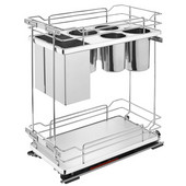 Rev-A-Shelf Two-Tiered Chrome Wire Base Organizer, with Knife Block/ Bins/ Shelf for 15'' Face Frame Base Cabinet, Maple, with Blum's TANDEM Heavy Duty BLUMOTION Soft Close Slides, 11-3/4''W x 21-11/16''D x 24''H