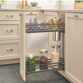 Rev-A-Shelf Fog Series Two-Tiered Flat Wire Base Organizer, with Knife Block/ Bins/ Shelf for 9'' Base Cabinet, Orion Gray, with BLUMOTION Full Extension Soft-Close Slides, 6-1/2''W x 22-3/8''D x 24-1/2''H