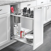 Rev-A-Shelf Two-Tiered Chrome Wire Base Organizer, with Knife Block/ Bins/ Shelf for 12'' Base Cabinet, Gray, with Blum's TANDEM Heavy Duty BLUMOTION Soft Close Slides