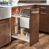 Rev-A-Shelf Two-Tiered Chrome Wire Base Organizer, with Knife Block/ Bins/ Shelf for 12'' Frameless Base Cabinet, Maple, with Blum's TANDEM Heavy Duty BLUMOTION Soft Close Slides, 10-1/4''W x 21-11/16''D x 24''H