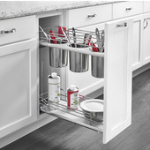 Rev-A-Shelf Two-Tiered Chrome Wire Utensil Base Organizer, with 3 Bins for 9'' Frameless Base Cabinet, Gray, with Blum's TANDEM Heavy Duty BLUMOTION Soft Close Slides, 7-1/4''W x 21-11/16''D x 24''H