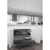 Rev-A-Shelf Premiere Base Cabinet Pullout Shelf/ Basket, Orion Gray Flat Wire Frame with Satin Solid Bottom, 32-11/16'' - 35''W x 21-3/4''D x 5-3/4''H, with BLUMOTION Soft-Close Slides