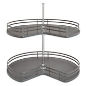 Rev-A-Shelf Kidney Shape Double Shelf Lazy Susan for 32'' Kidney Corner Base Cabinet, Orion Gray, with 26'' - 32'' Telescoping Shaft