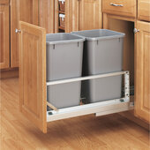 Rev-A-Shelf ''Premiere'' Double Bin Pull-Out Waste Container, 6.75 Gallons Each, Metallic Silver Polymer, Min. Cabinet Opening: 11-3/4''  Wide