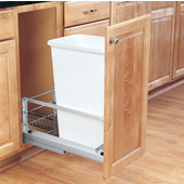 Rev-A-Shelf ''Premiere'' Single Bin Pull-Out Waste Container with Rear Storage Basket, 12.5 Gallons, White Polymer, Min. Cabinet Opening: 10-7/8''  Wide