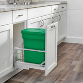 Rev-A-Shelf Single Green Compo+ Bin Pull-Out with Rear Storage, Aluminum Bottom Mount with Soft-Close Slides