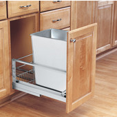 Rev-A-Shelf ''Premiere'' Single Bin Pull-Out Waste Container with Rear Storage Basket, 8 Gallons, Stainless Steel, Min. Cabinet Opening: 10-7/8''  Wide